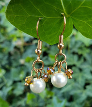 Champagne crystal and pearl earrings