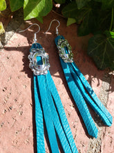Turquoise leather concho tassel earrings