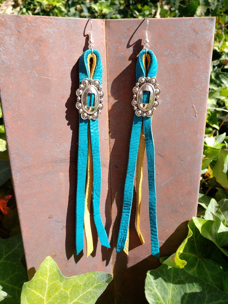 Mustard and turquoise leather concho tassel earrings