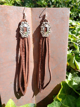 Chocolate brown leather concho tassel earrings
