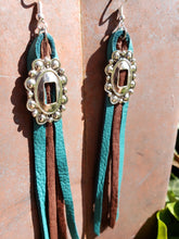 Turquoise and chocolate leather concho tassel earrings