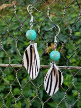 Zebra print hair on hide earrings
