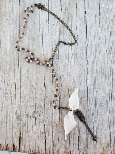 Antiqued brass lariat arrow necklace