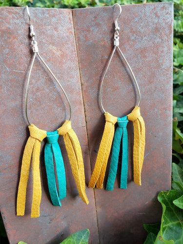 Turquoise and mustard leather raindrop fringe earrings
