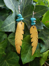 Mustard leather feather earrings