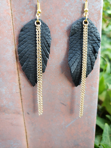 Black feathers with chain earrings