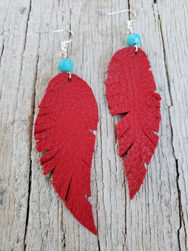 Red buckskin feather earrings