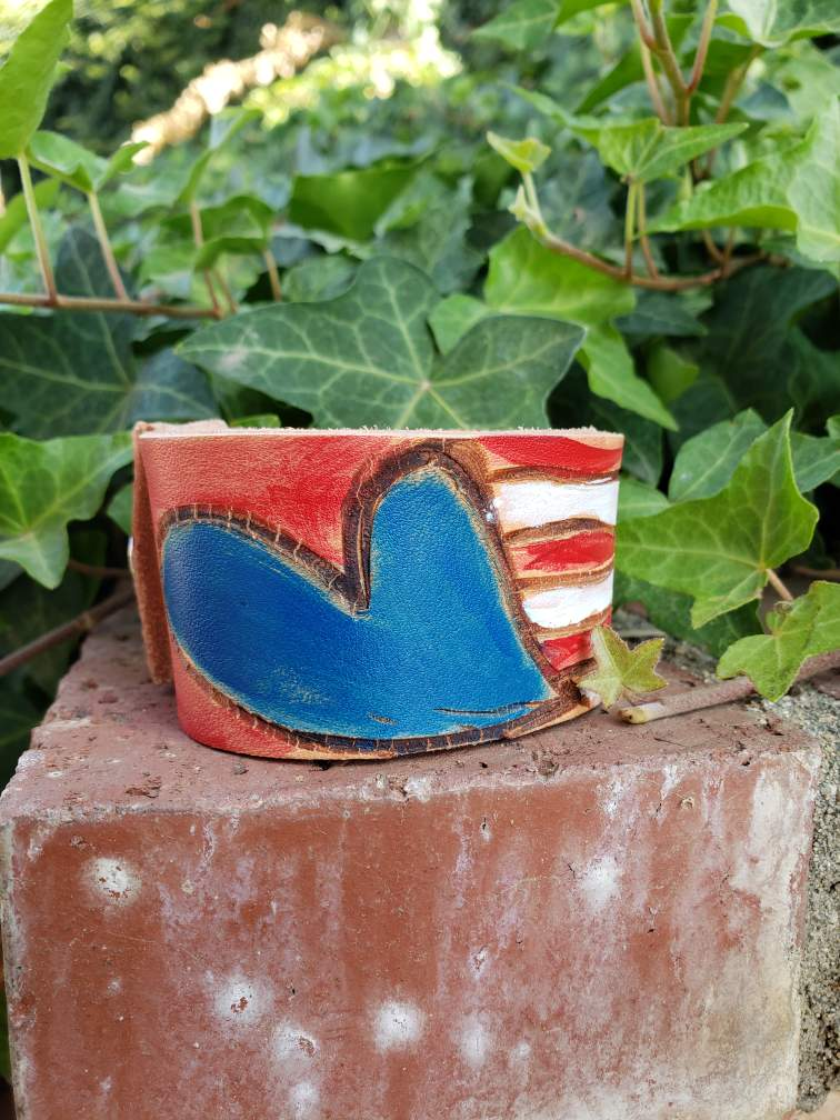 Leather cuff flag bracelet