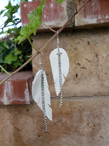 Leather feather earrings with silver crystal accent