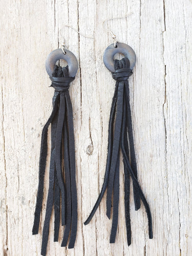 Wooden hoop black fringe earrings