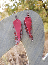 Red paisley leather earrings