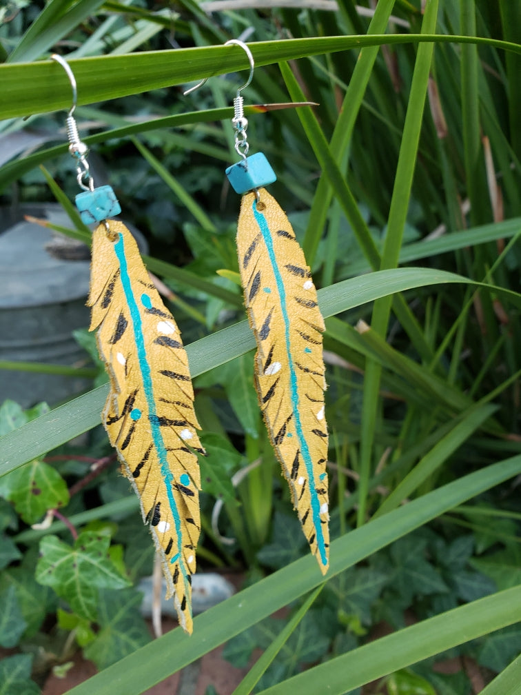 Long n lean hand painted feather earrings