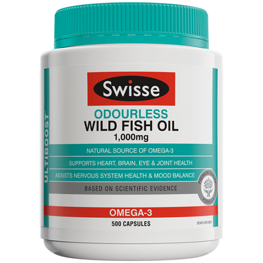 Swisse Ultiboost Odourless Wild Fish Oil 1,000mg - 500 Capsules