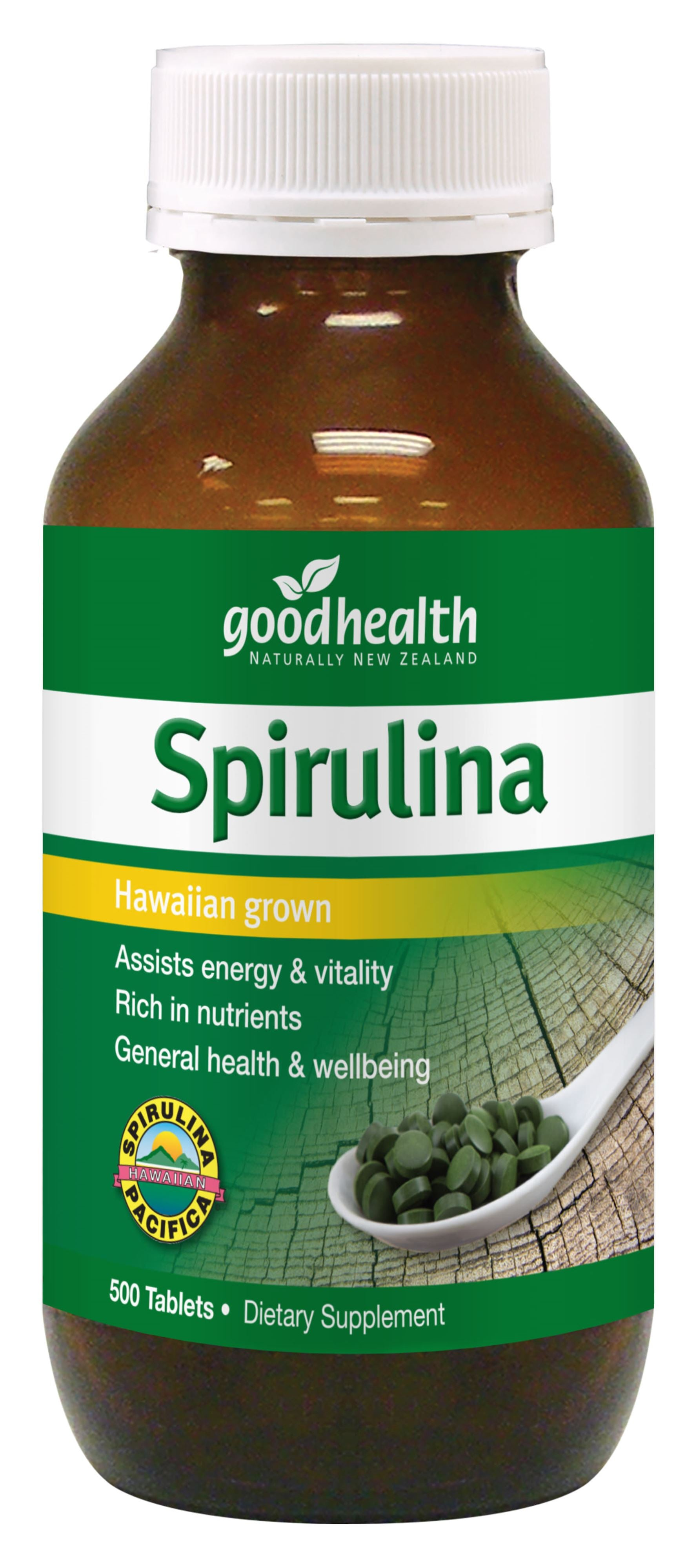 Spirulina Tablets Hawaiian Grown 500 Tablets
