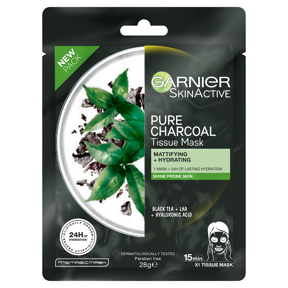 GARNIER SkinActive Pure Charcoal Tissue Face Mask Black Tea 28g