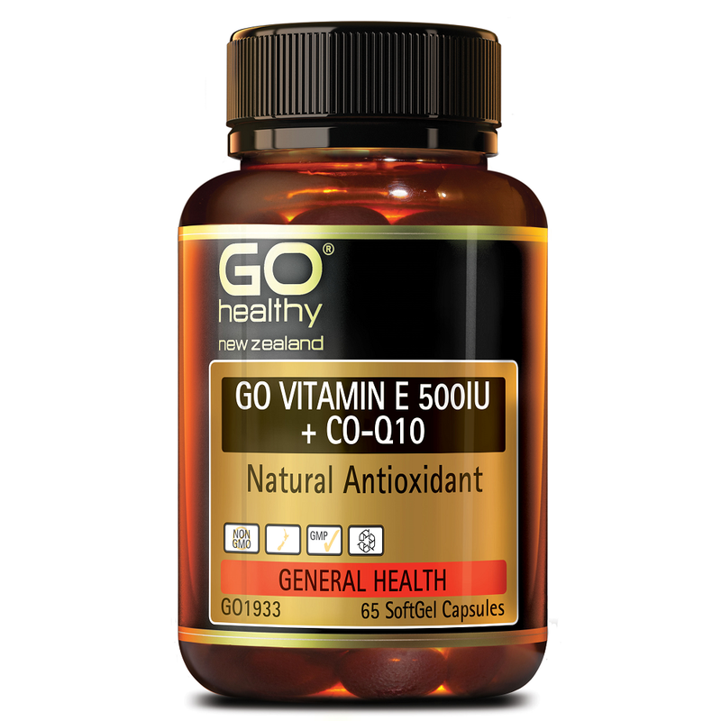 GO Healthy GO Vitamin E 500 IU + Co-Q10 - 65 Softgel Capsules