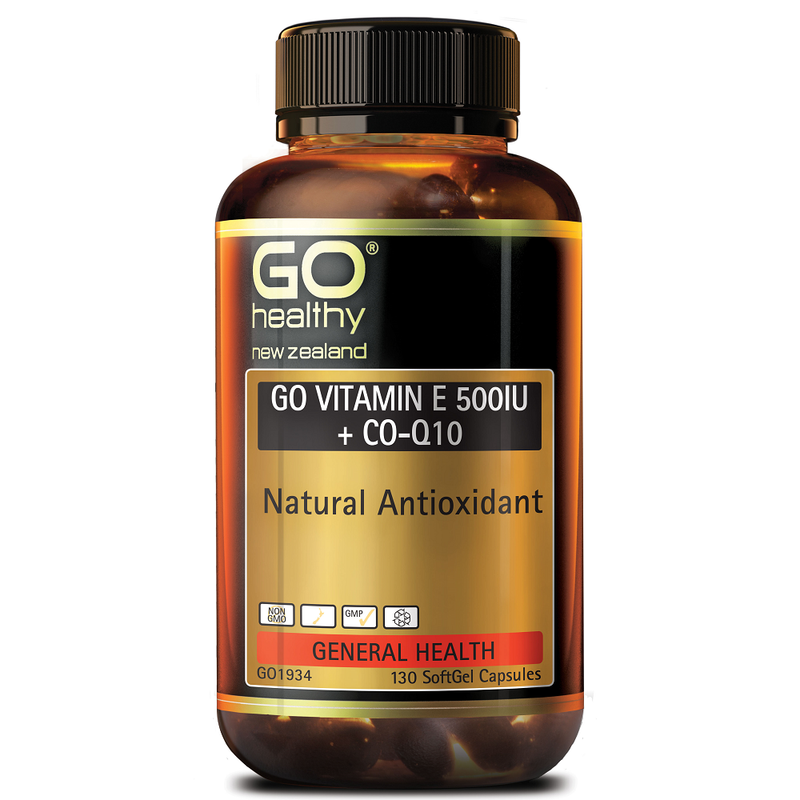 GO Healthy GO Vitamin E 500 IU + Co-Q10 - 130 Softgel Capsules