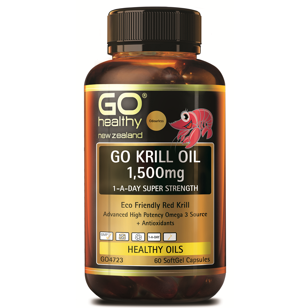 GO Healthy GO Krill Oil 1,500mg 1-a-Day Super Strength - 60 Softgel Capsules