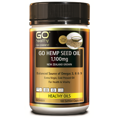 GO Healthy GO Hemp Seed Oil 1,100mg NZ Grown - 100 Softgel Capsules