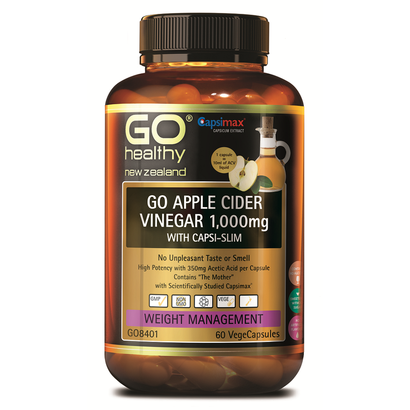 GO Healthy GO Apple Cider Vinegar 1,000mg with Capsi-Slim - 60 Vege Capsules