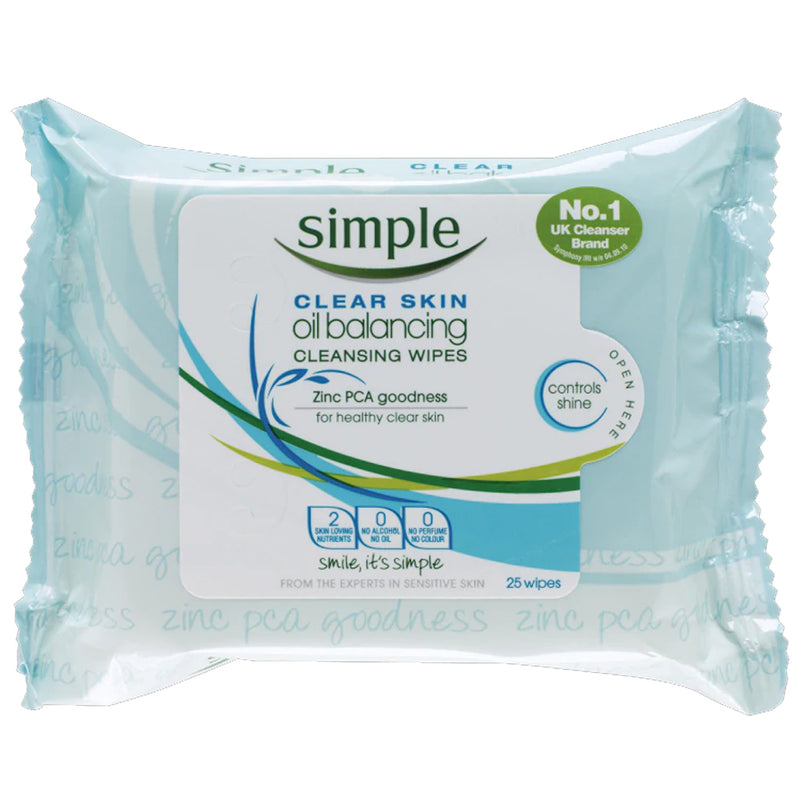 Simple Clear Skin Oil Balancing Cleansing Wipes