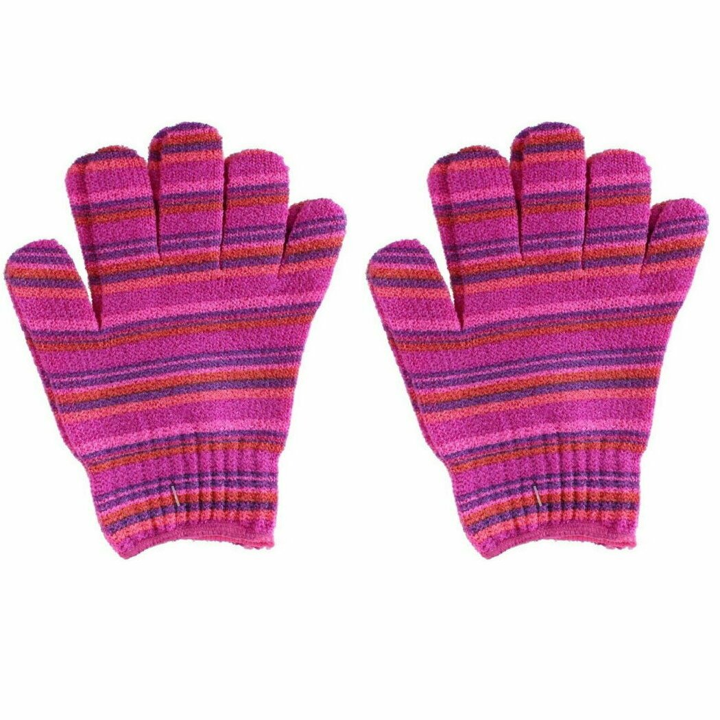 The Beauty Case Exfoliating Gloves Pink Stripe
