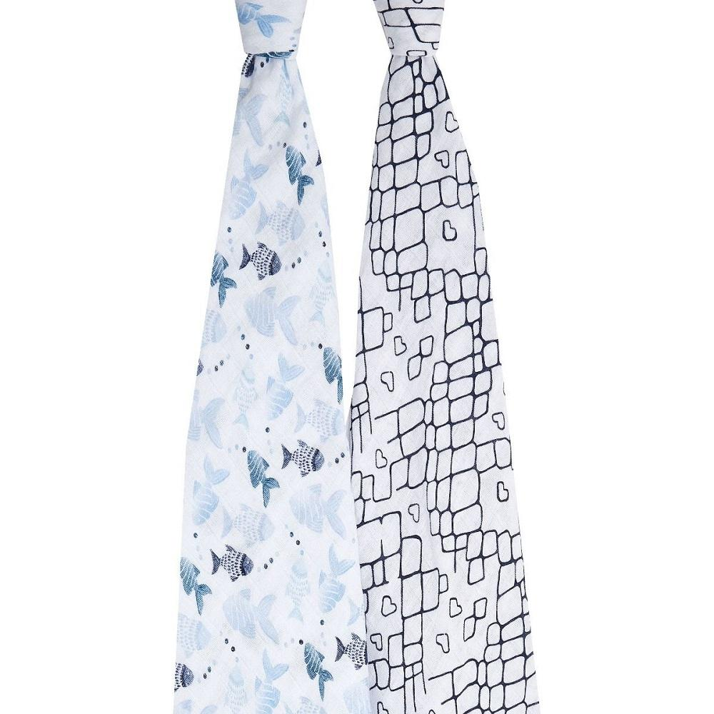 aden + anais Cotton Muslin Swaddle - Gone Fishing (2-Pack)
