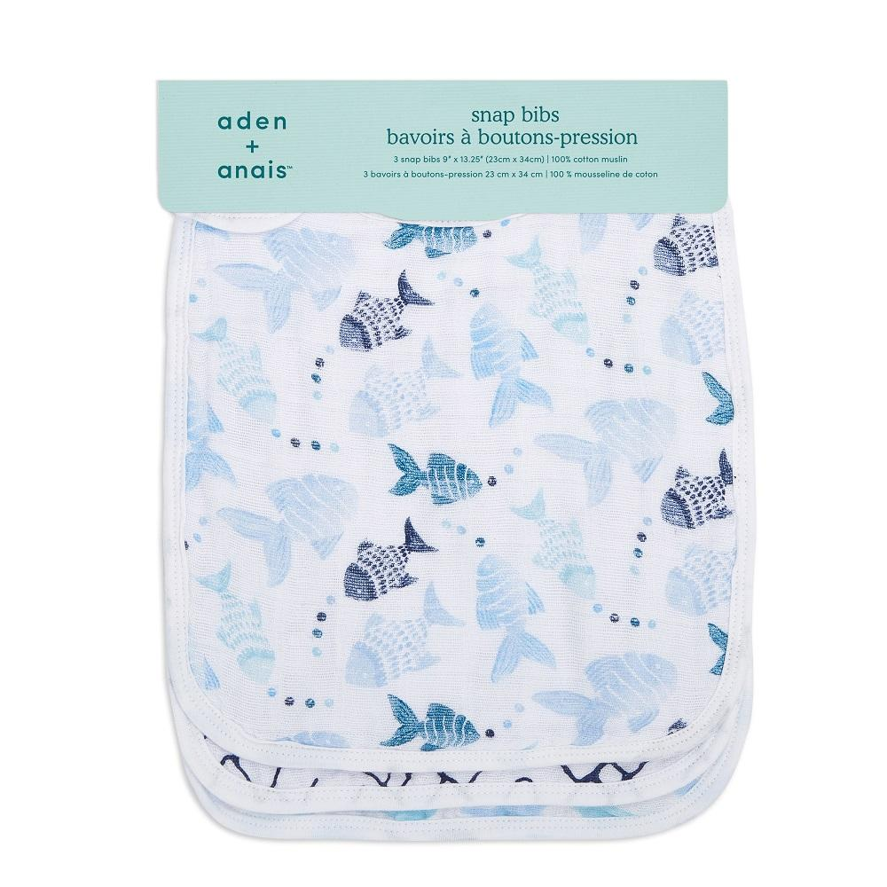 aden + anais Cotton Muslin Snap Bib - Gone Fishing (3-Pack)