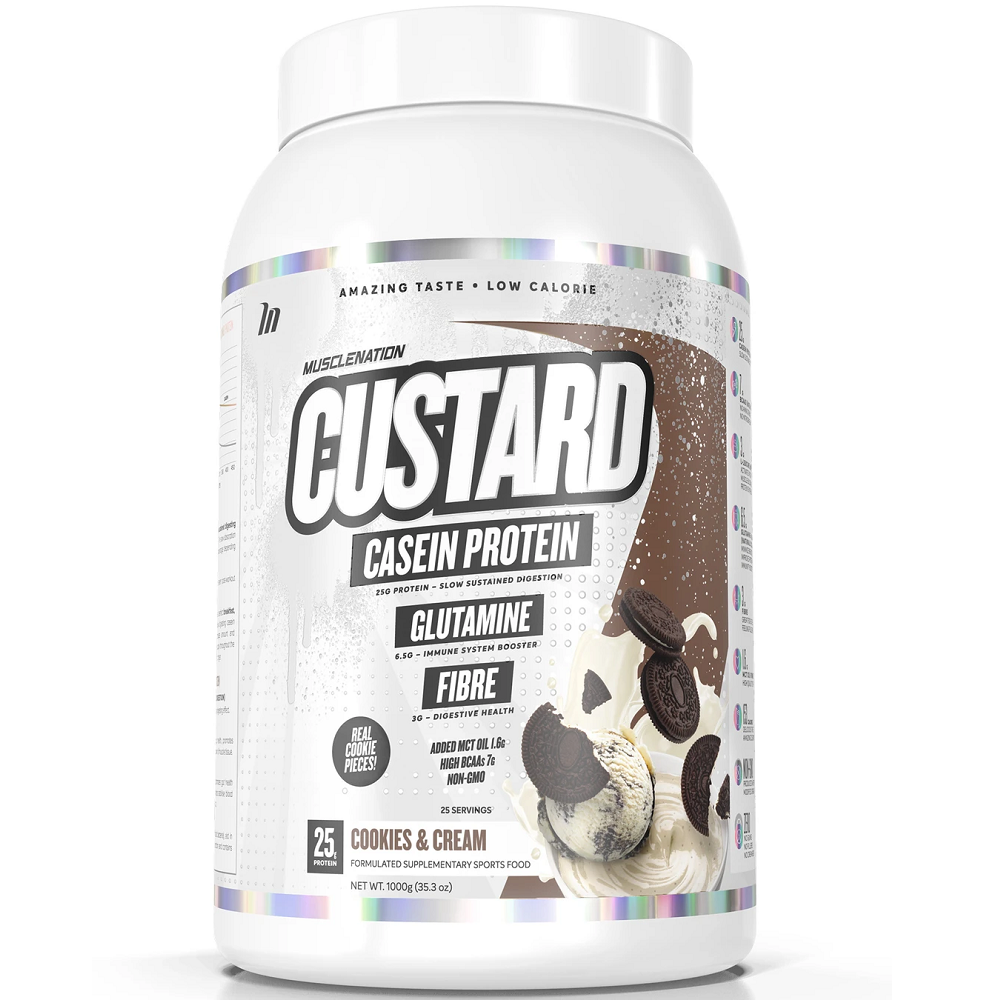 Muscle Nation CUSTARD Casein Protein 1000g - Cookies & Cream