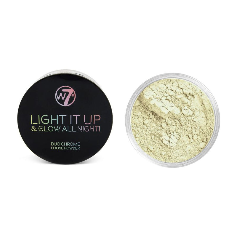 W7 Light It Up & Glow All Night! Duo Chrome Loose Powder - Open 24/7