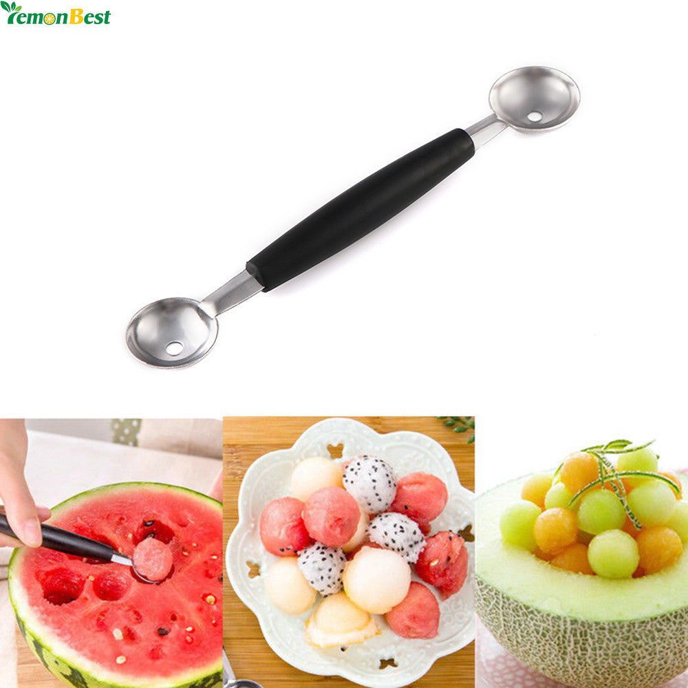 Dual Double-end Melon Baller Scoop Stainless Steel Fruit Spoon Ice Cream Dessert Sorbet Kitchenware Cook Tool