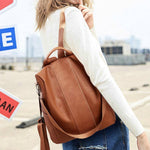 Stylish Brown Faux Leather Backpack
