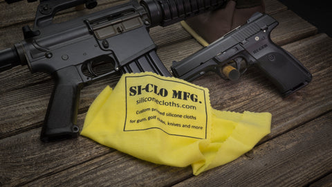 Custom Printed Silicone Gun Cleaning Polishing Cloth Ruger SR40 Colt AR-15 Gun Store Dealer Marketing
