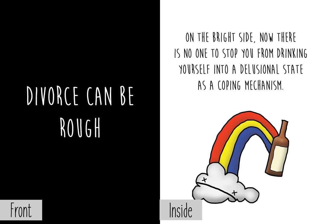 Divorce is Rough Greeting Card - Dark Humor Greeting Card Nihilist Cards