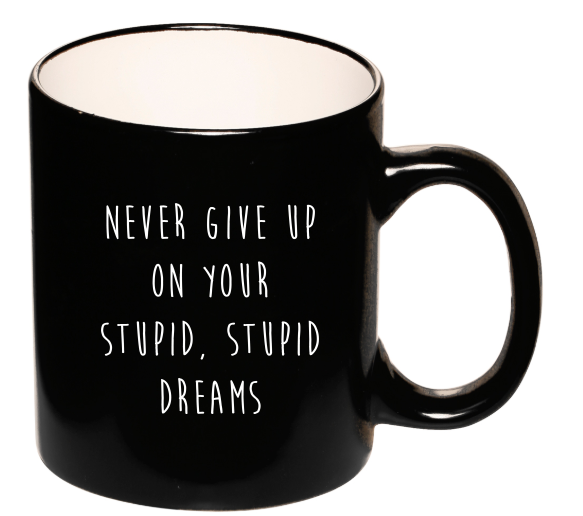 Stupid, Stupid Dreams Two-Tone Coffee Mug - Dark Humor Mug Nihilist Cards