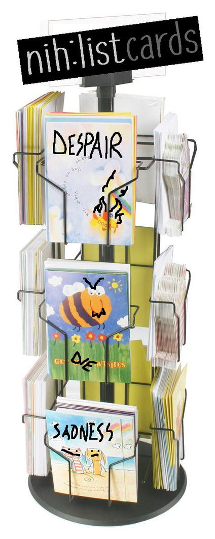 Retail Rotating Greeting Card Display w/ Sign Clip, Counter top, 12 Pockets - Black - Dark Humor Display Nihilist Cards
