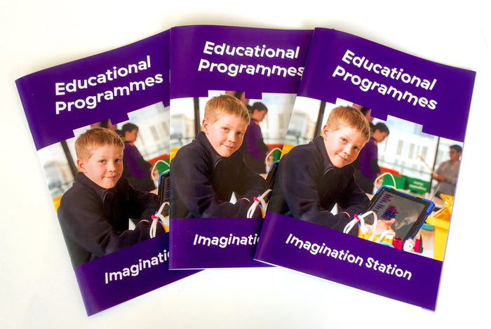 Our Imagination Station booklet shows our most popular classes including LEGO Mindstorms, LEGO Spike Prime, LEGO WeDo 2.0, Lego Engineering or Mechanics, and Stop motion movie making.