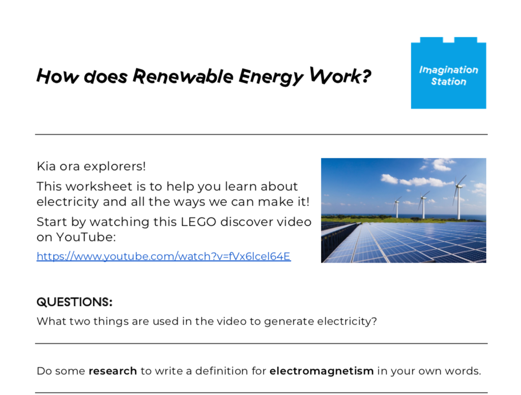 How does Renewable Energy Work? at Imagination Station
