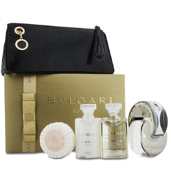 BVLGARI OMNIA CRYSTALLINE 5 pcs Gift Set - Eau De Toilette Spray + Lotion + Shower Gel + Soap + Bag