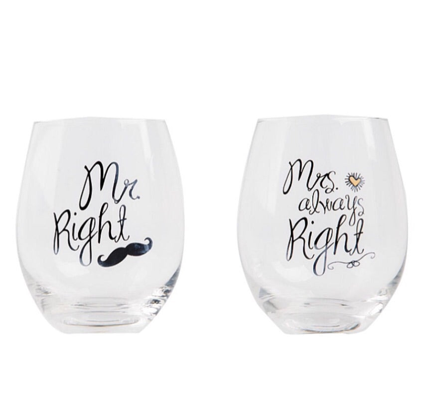 Mr Right and Mrs Always Right Glasses