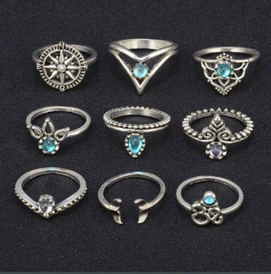 Karma 9 Piece Bohemian Ring Set
