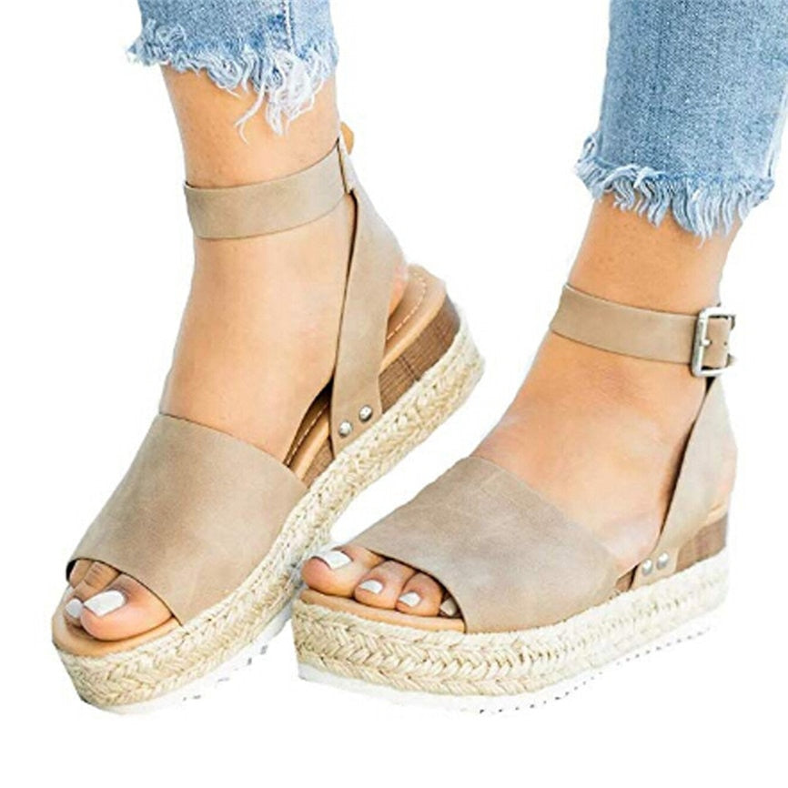 Women's Shoes Fashion Women's Rubber Sole Studded Wedge Buckle Ankle Strap Open Toe Sandals For Ladies #30wqy#30