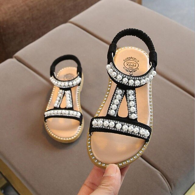 Girls Sandals Summer Kids Shoes Pearl Princess Shoes Sandals For Baby Girls Crystal Single Princess Shoes Sandals