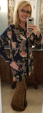 Valerie Navy Floral Tunic