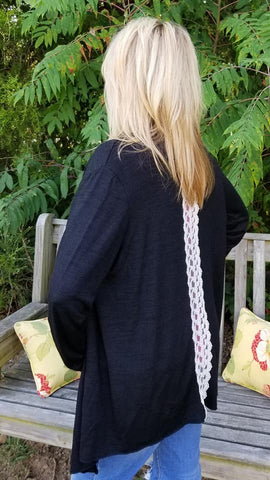 Elley Black Lace Cardigan