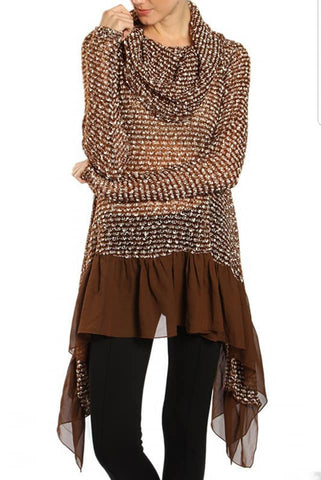 Brown Cowl Neck Tunic w/side extenders