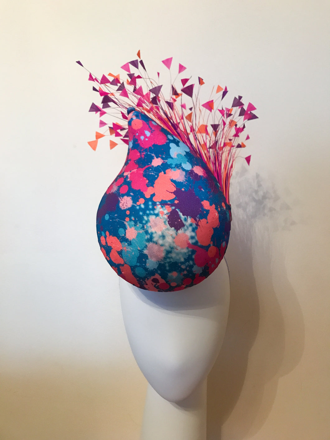 Colour Burst 3D Percher Teardrop with Hand Cut Feather Spray