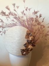 Taragh 3D Percher Disc in Ivory with Blush Feather Spray and Rose Gold Leather Flowers