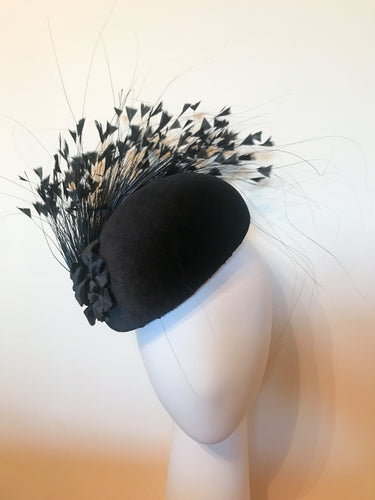 Black Velvet Side Hugger with Black Feather Spray and Handmade Velvet Flowers