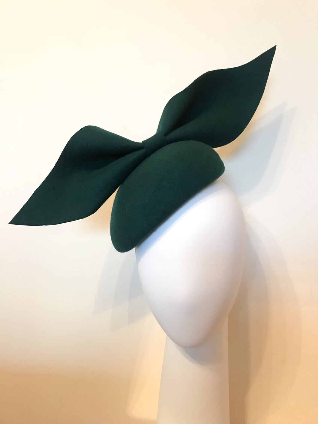 Kate - Dark Green Wool Felt Side Hugger with Oversized Bow